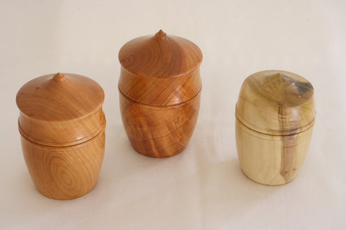 turned wood boxes in cherry and poplar wood