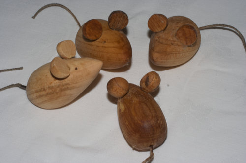 turned wooden mice with h hemp tails